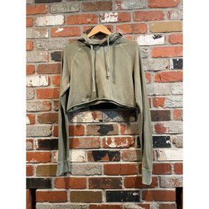 American Eagle Cropped Hoodie Olive Size Small